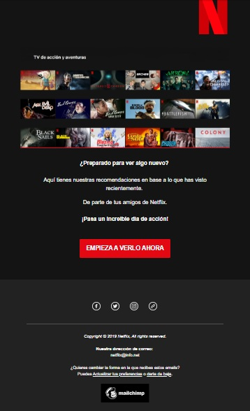 Campaña Emailing Netflix